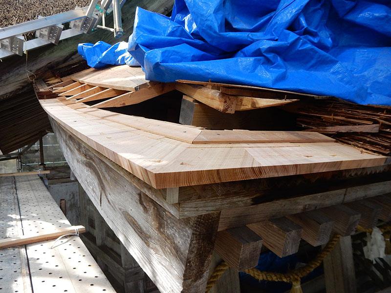 檜皮葺 裏板